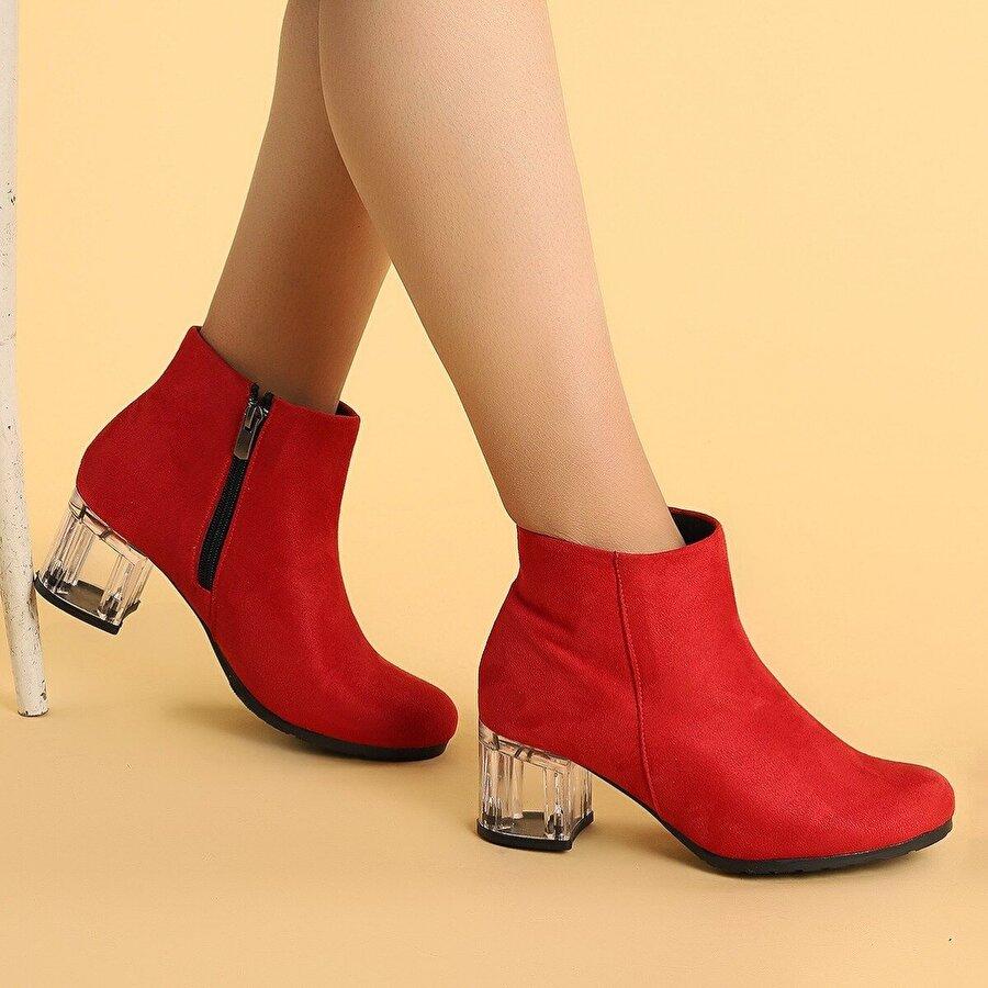 Ayakland 520 Şeffaf Süet 6 Cm Topuk Termo Taban Bayan Bot Ayakkabı KIRMIZI