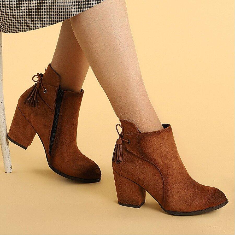 Ayakland 1111-2104 Süet 6 Cm Topuk Termo Kadın Bot Ayakkabı TABA