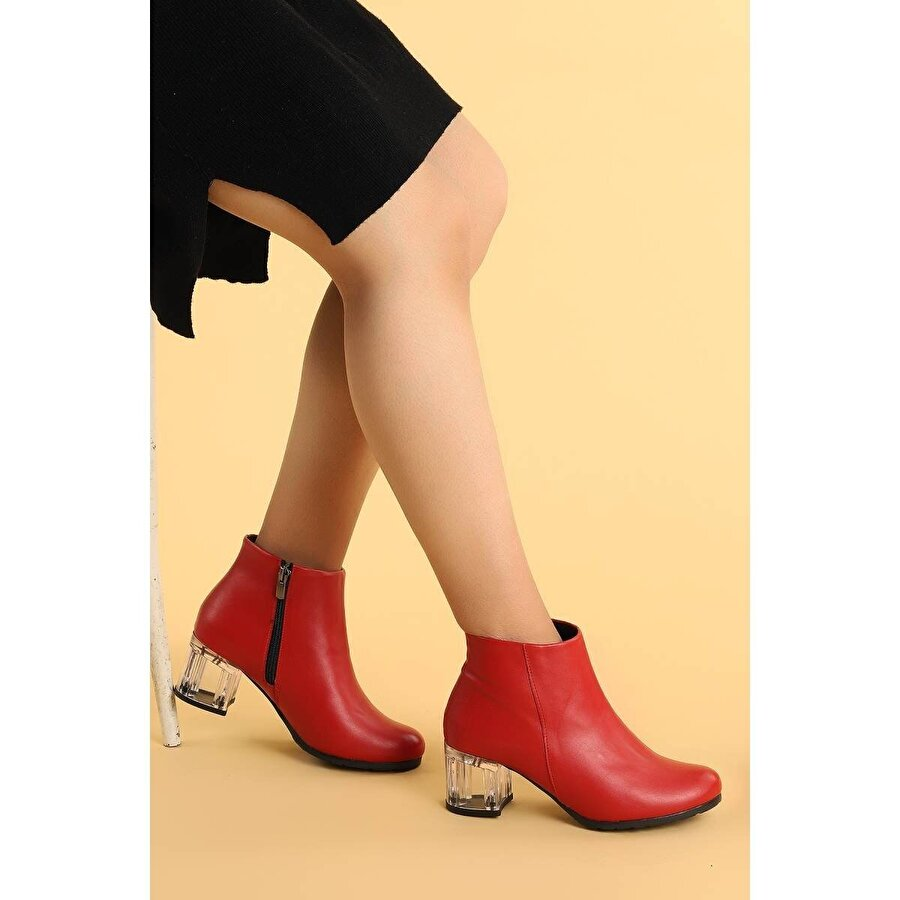Ayakland 520 Şeffaf Cilt 6 Cm Topuk Termo Taban Bayan Bot Ayakkabı KIRMIZI