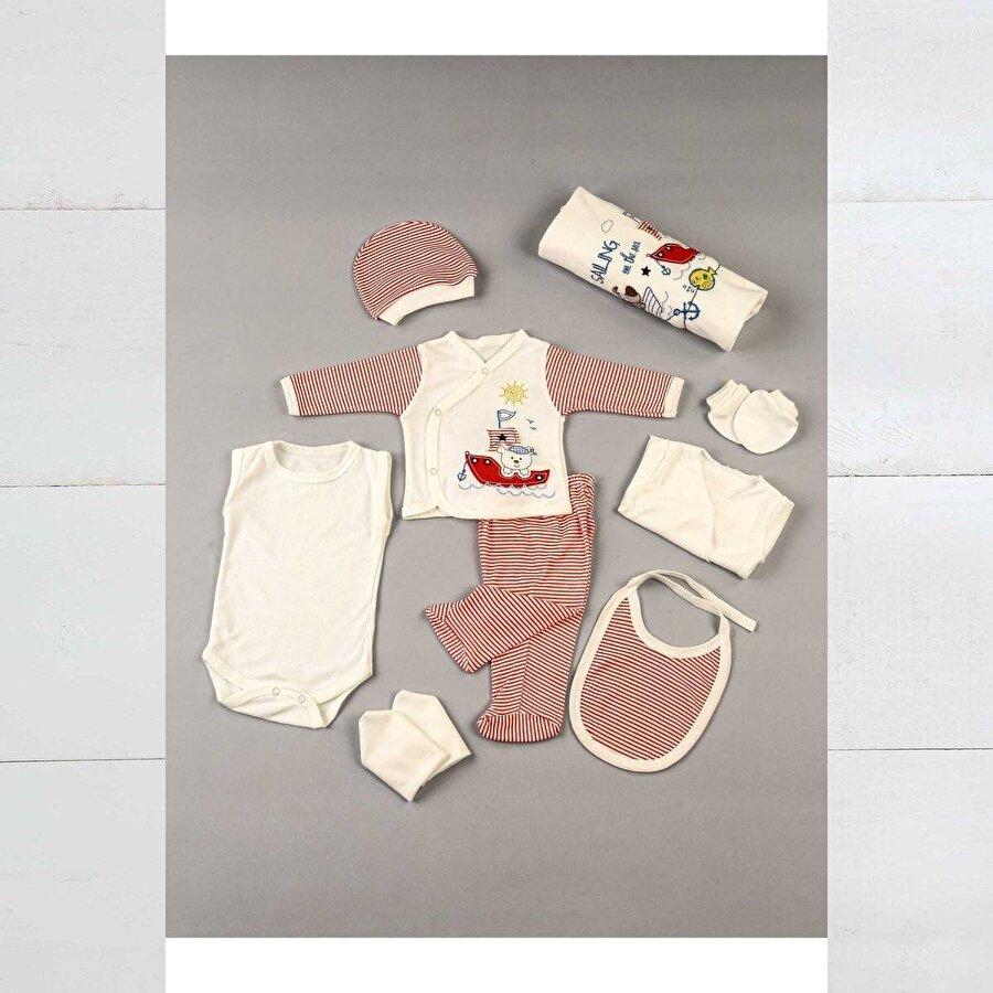 Modakids Kırmızı Yenidoğan 10 lu Erkek Bebek Hastane Çıkışı