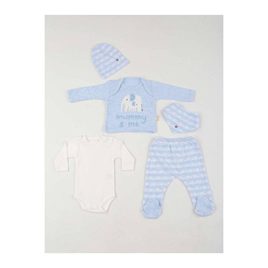 Modakids Mavi Erkek Bebek 5 li Zıbın Takım