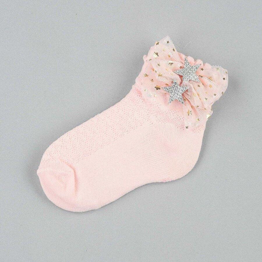 Modakids Pembe Fiyonklu Yıldızlı Kız Çocuk Çorap