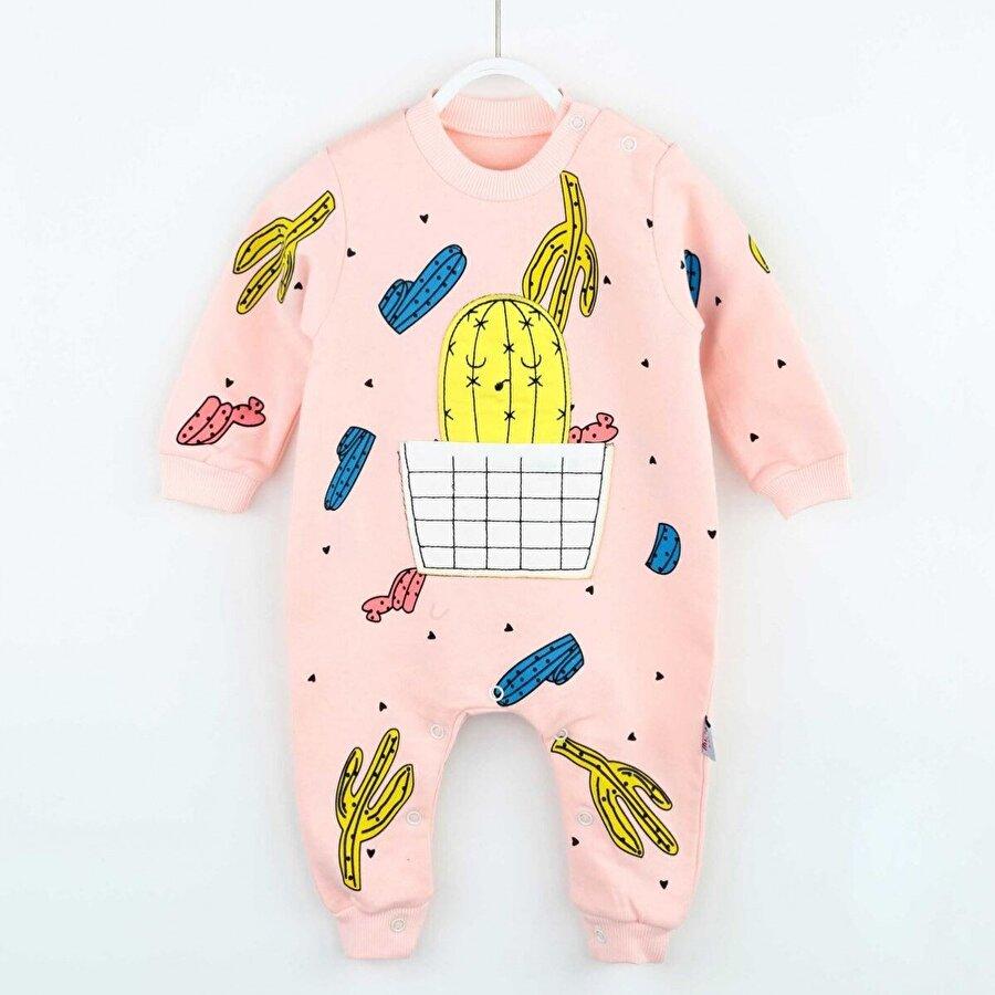 Modakids Pembe Kaktüs Desenli Kız Bebek Tulum