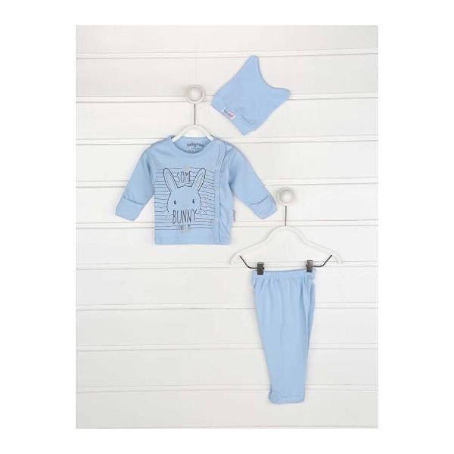 Modakids Mavi Kundak Eldivenli Erkek Bebek 3 lü Zıbın Takımı