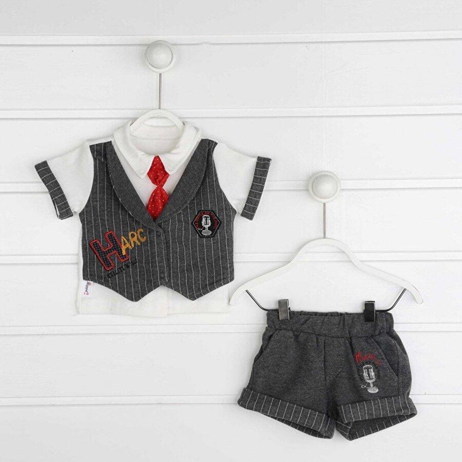 Modakids Gri Yazlık Erkek Bebek 3 lü Takım