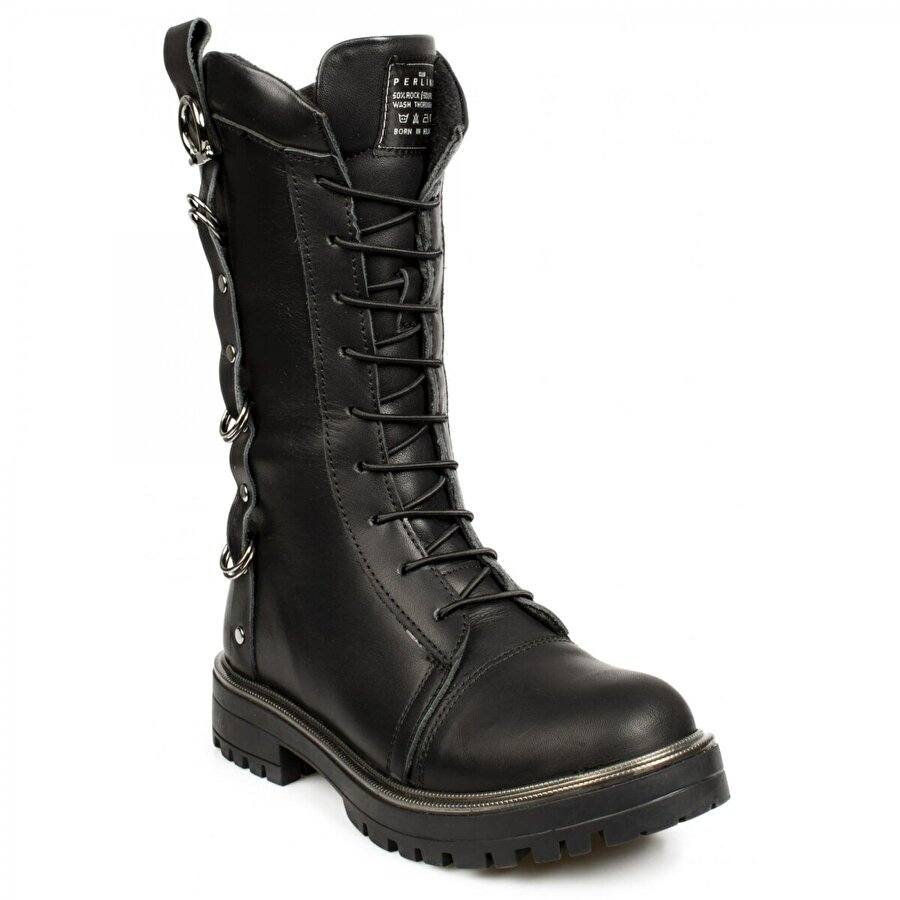 Perlina 762 F Deri Siyah Çocuk Çizme