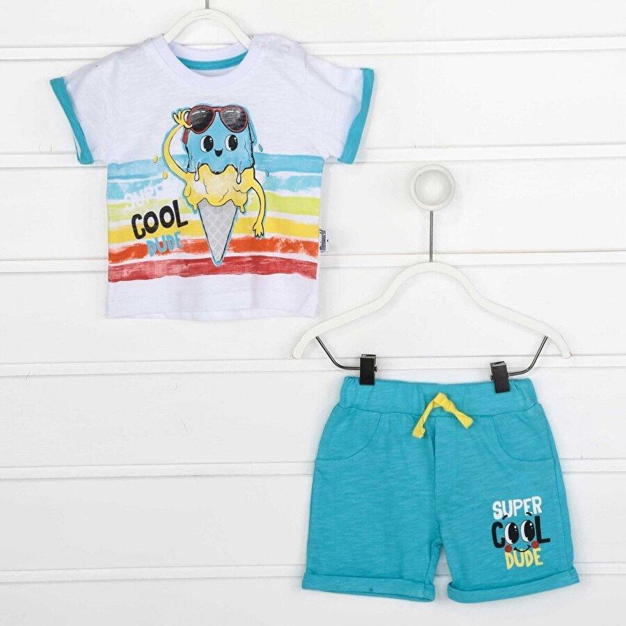 Miniworld Mavi Yazlık Erkek Bebek Şortlu Takım
