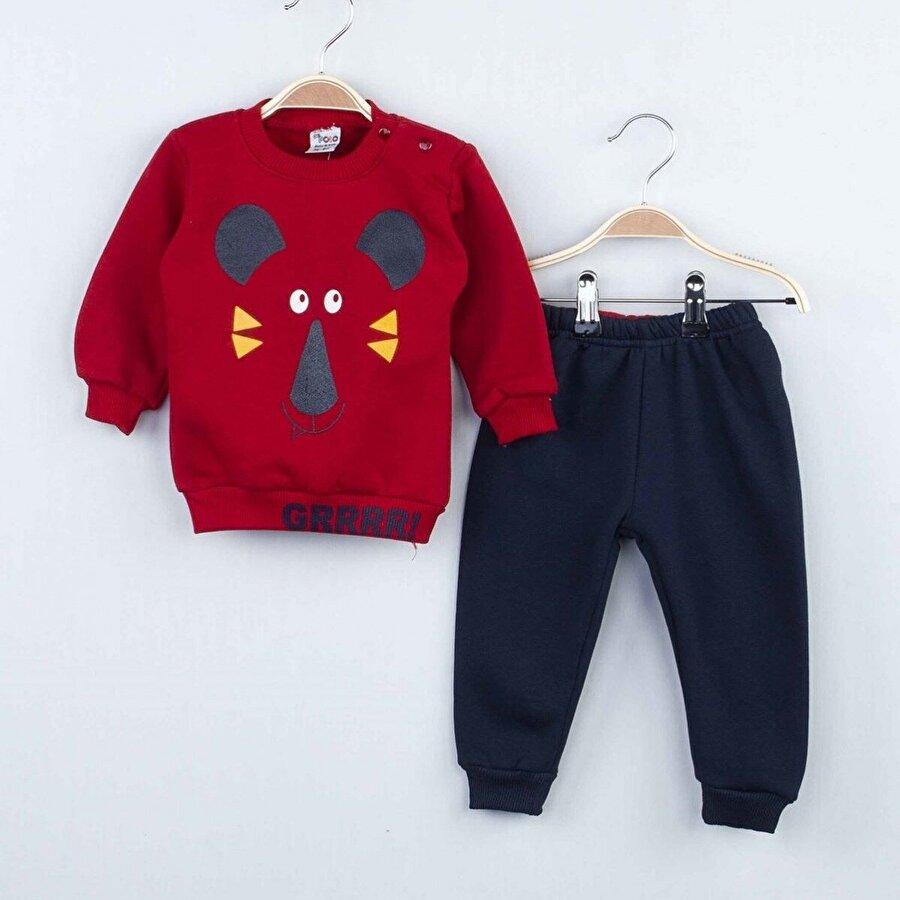 Modakids Kırmızı Kışlık Erkek Bebek 2 li Takım