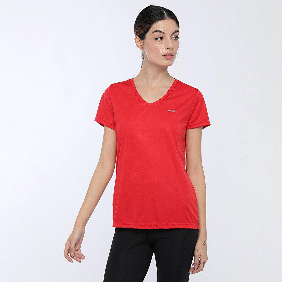 Kinetix BASIC PES V NECK T-SHIRT Kırmızı Kadın T-Shirt