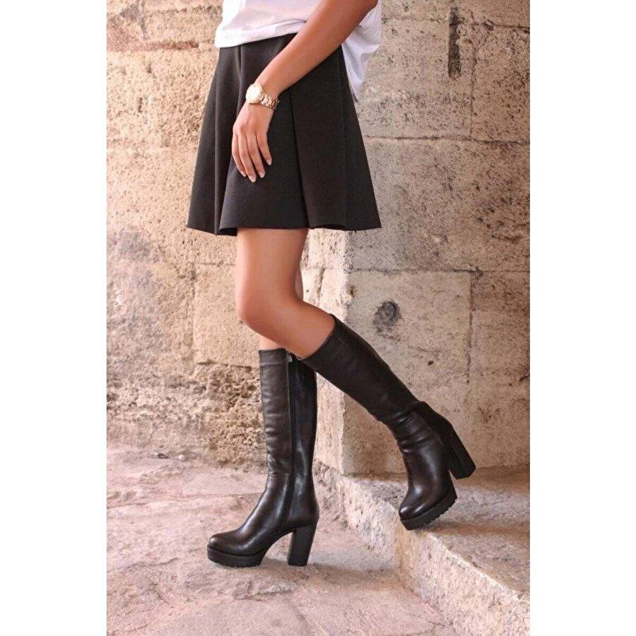 Fast Step Hakiki Deri Kadın Yüksek Topuk Çizme 903SZA17389