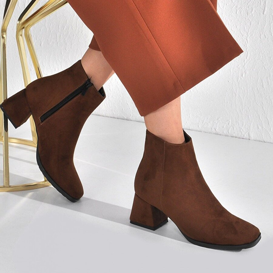 Vizon Ayakkabı Kadın  Taba Süet Bot VZN20-006K