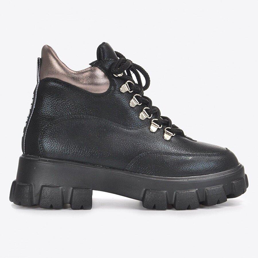 Vizon Ayakkabı Kadın  Siyah Baskı Bot VZN20-018K