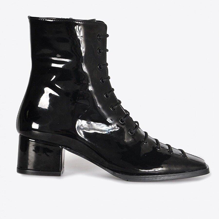 Vizon Ayakkabı Kadın  Siyah Rugan Bot VZN20-027K