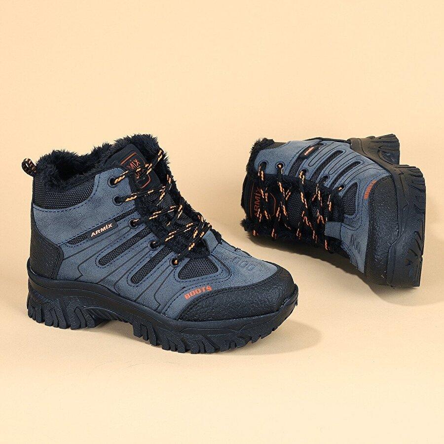 Kiko Kids Rmx 2836 Kürklü Fermuarlı Erkek Çocuk Bot Ayakkabı LACİVERT