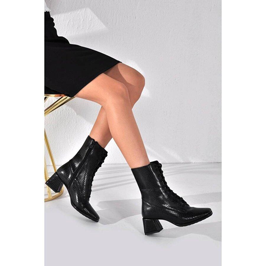 Vizon Ayakkabı Kadın  Siyah Kroko Bot VZN20-010K