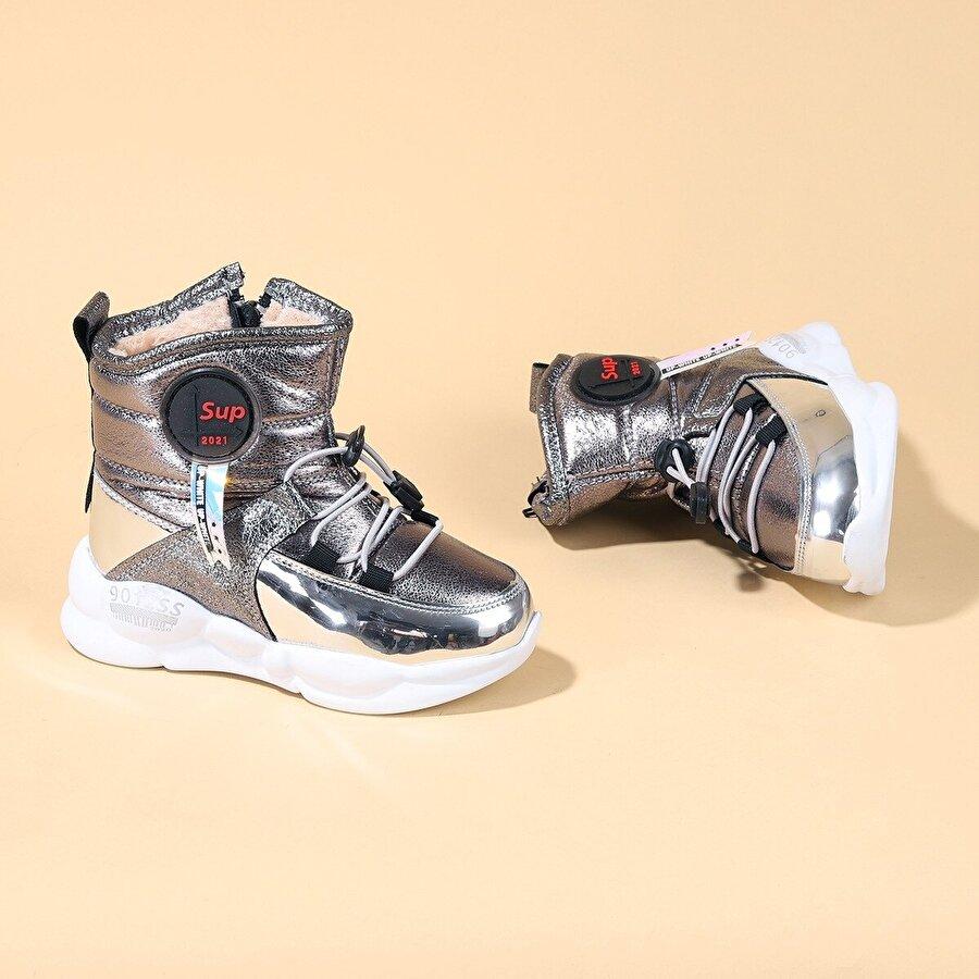 Kiko Kids Kiko TWG 7580 Kışlık İçi Termal Kürklü Işıklı Kız Çocuk Bot Ayakkabı Gümüş