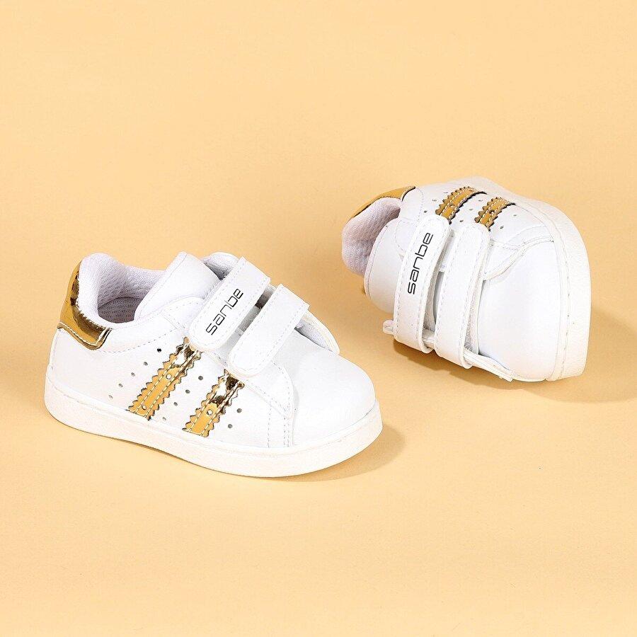 SANBE 128R5401 İlkadım Orto pedik Kız Çocuk Spor Ayakkabı Beyaz Altın