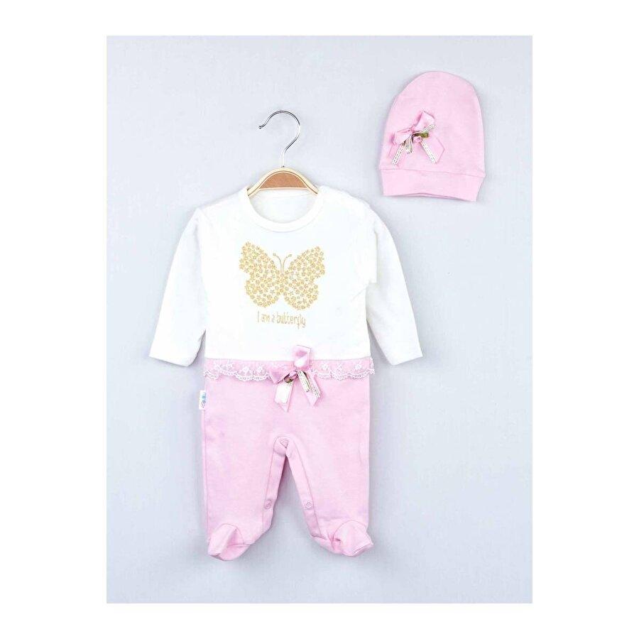 Modakids Pembe Mevsimlik Kız Bebek Şapkalı Tulum