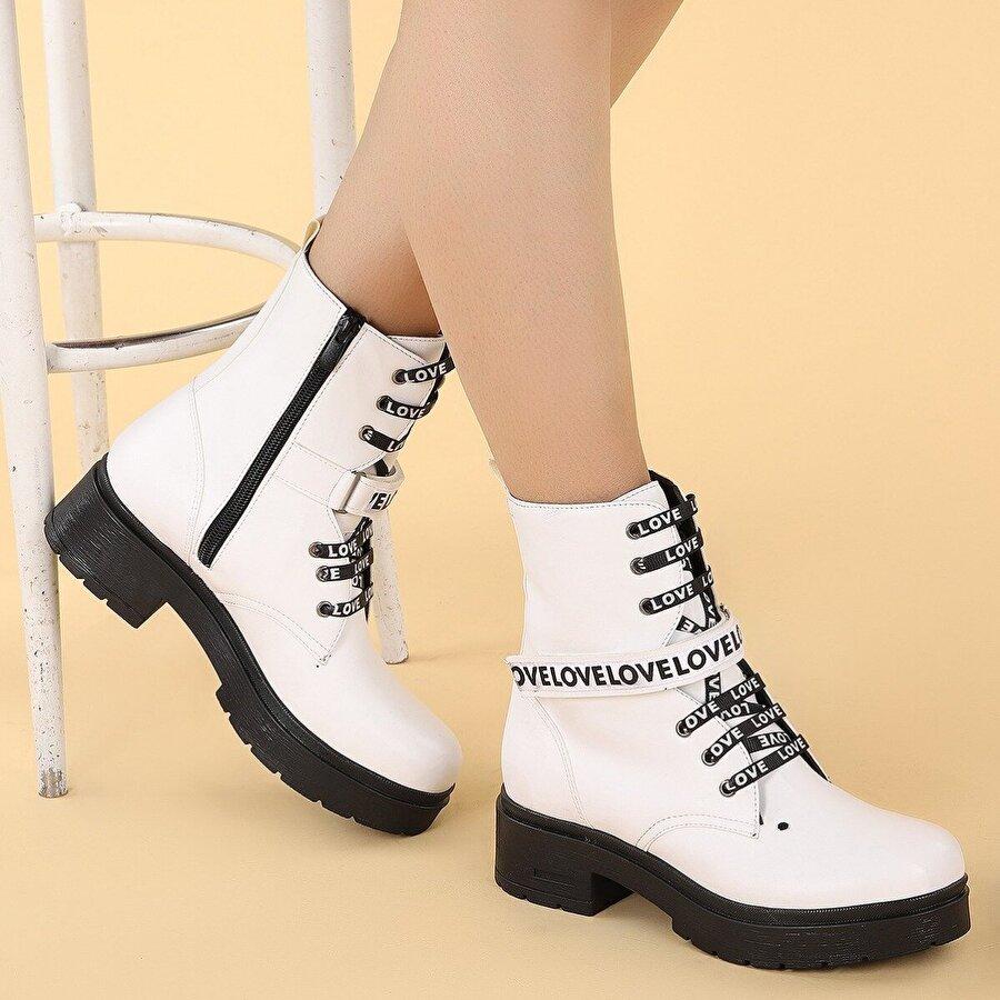 Ayakland 2463-2102 Cilt 4cm Fermuarlı Termo Kadın Bot Ayakkabı BEYAZ