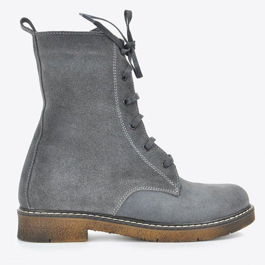 Vizon Ayakkabı Kadın  Gri Nubuk Bot VZN20-036K