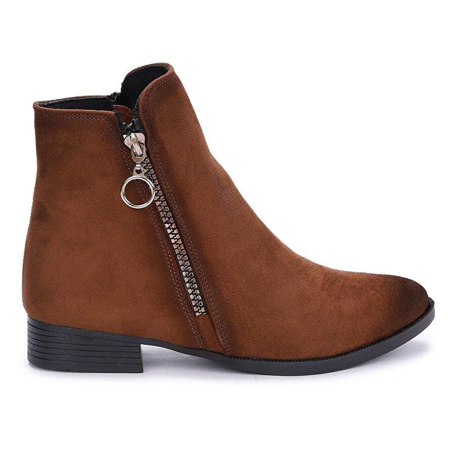 Ayakland 8284-2123 Süet Fermuarlı Kadın Bot Ayakkabı TABA