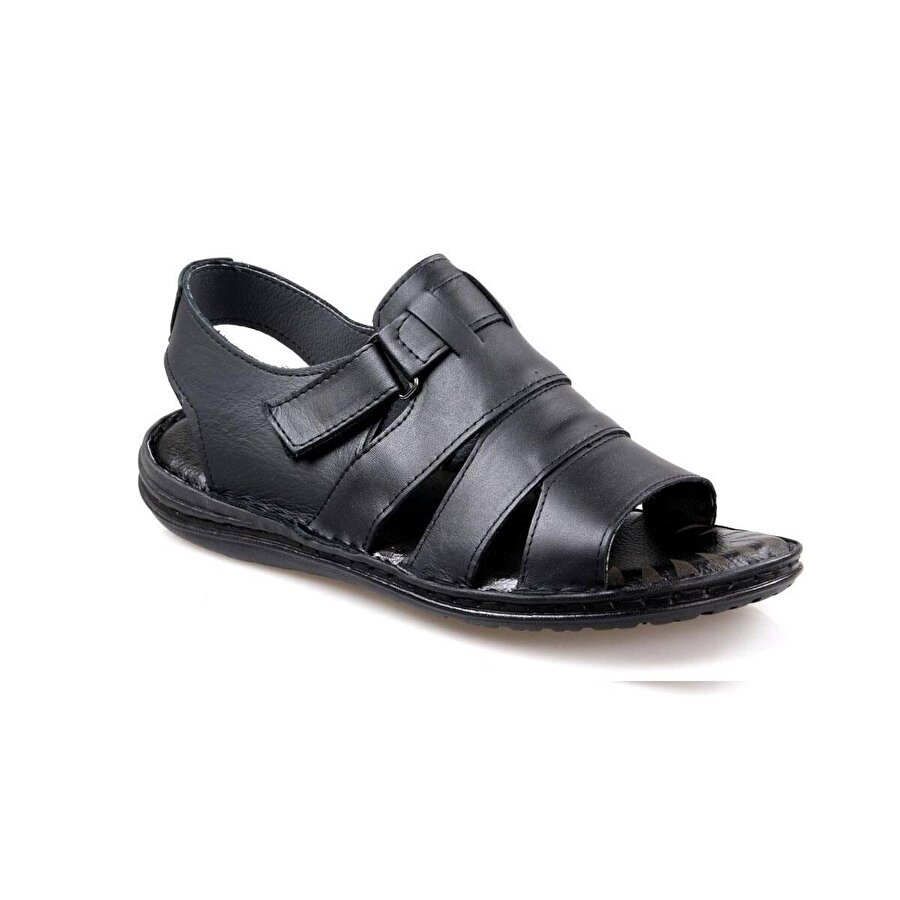 Slippers Erkek Siyah Deri Sandalet