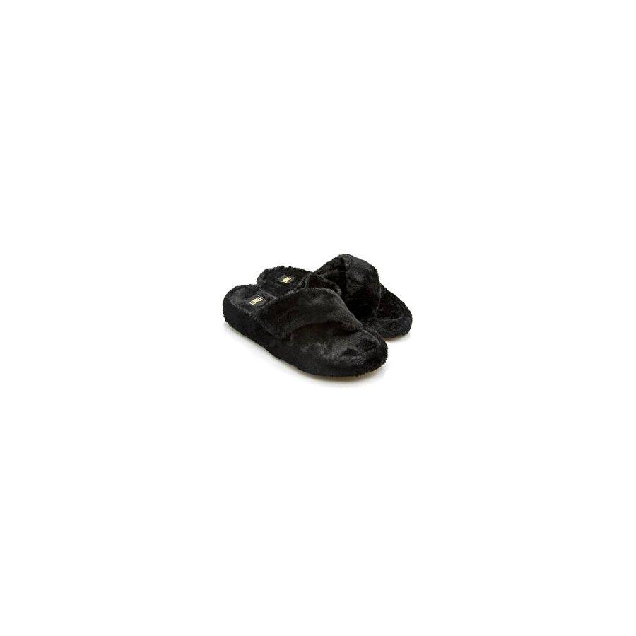 Twigy Tuti Çapraz Desenli Kışlık Kadın Ev Terliği Siyah