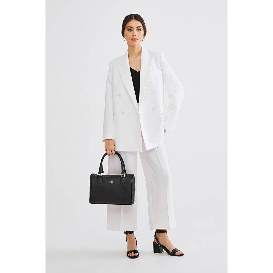 Deri Company Kadın Basic Omuz Çantası Düz Desenli Logolu Siyah (4009S) 214015