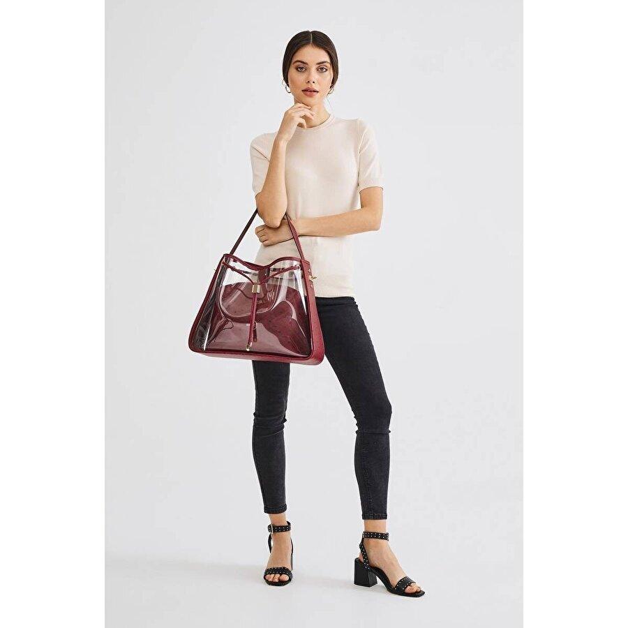 Deri Company Kadın Basic Omuz Çanta Transparan Düz Desen+Monogram Bordo Siyah  (4032BS) 214025
