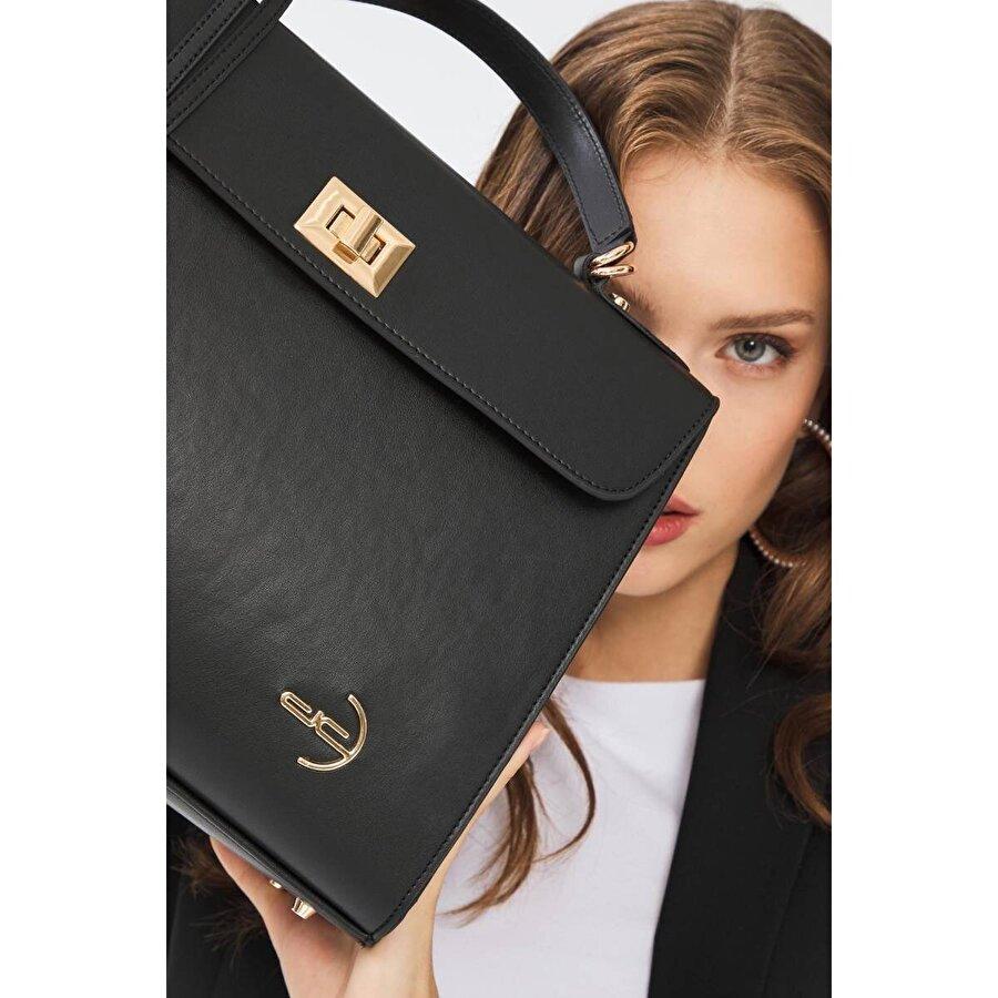 Deri Company Kadın Basic El ve Omuz Çantası Düz Desenli Kilitli Logolu Siyah 214043