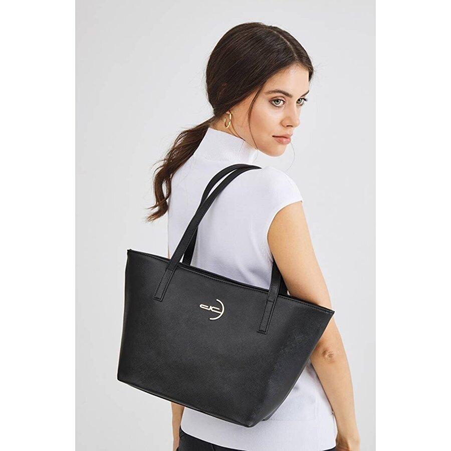 Deri Company Kadın Basic Omuz Çantası Düz Desenli Logolu Siyah (4008S) 214014
