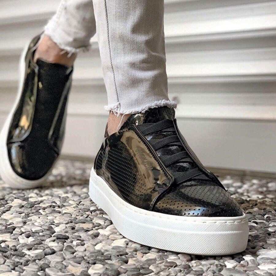 Chekich CH011 Rugan BT  Erkek  Sneaker Ayakkabı SIYAH