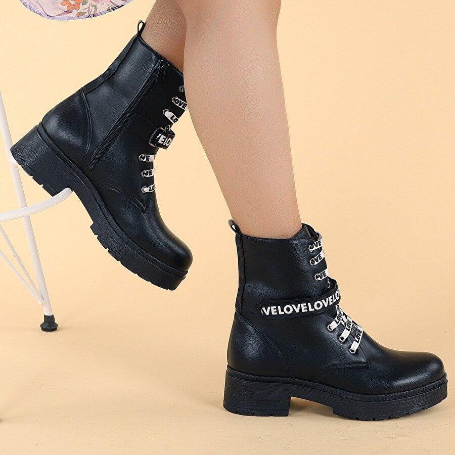 Ayakland 2463-2102 Cilt 4cm Fermuarlı Termo Kadın Bot Ayakkabı SİYAH