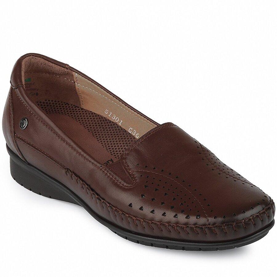 FORELLI 51-301 Hakiki Deri Ortopedik Kadın Ayakkabı Kahverengi