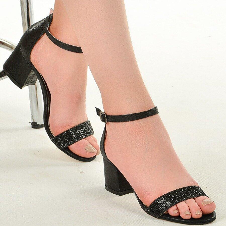 Ayakland 038-03 Taşlı 5 Cm Topuk Bayan Sandalet Ayakkabı SİYAH