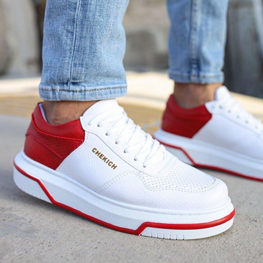 Chekich CH075 İpekyol Beyaz Taban Erkek  Sneaker Ayakkabı BEYAZ / KIRMIZI