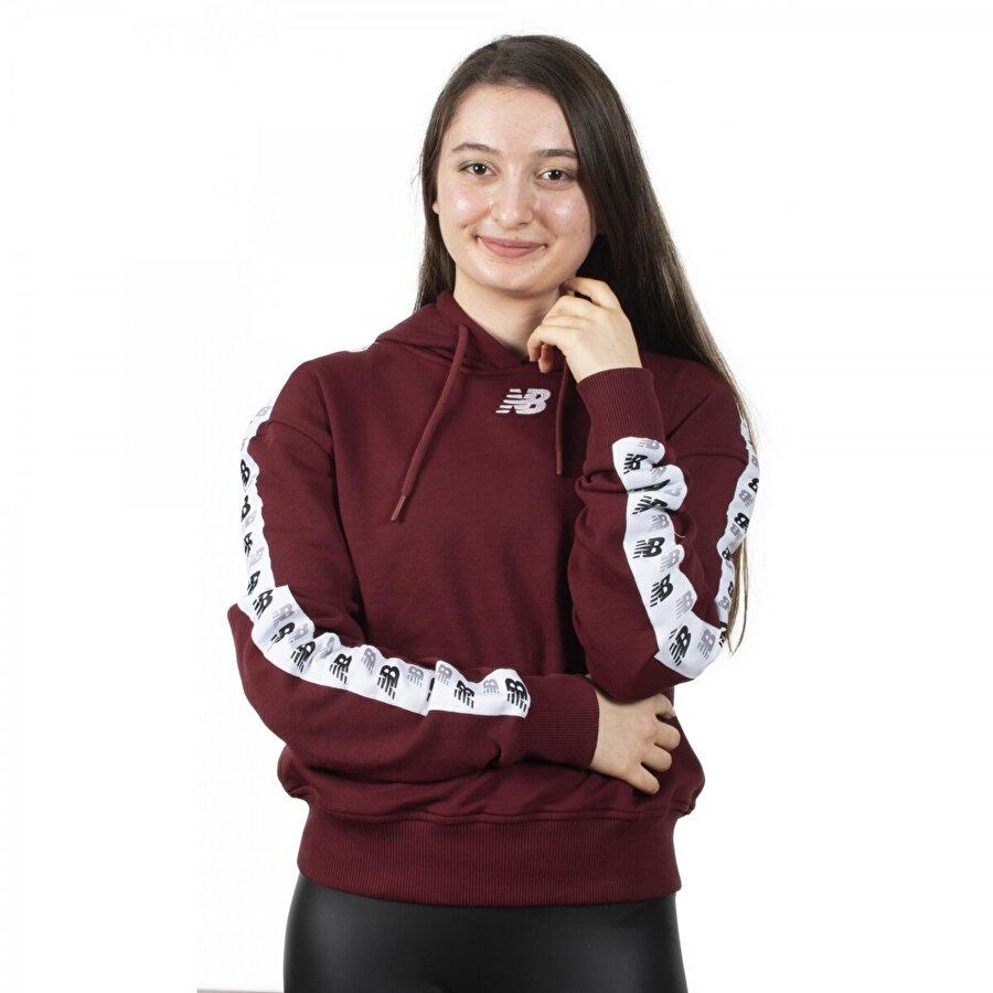 New balance Wpj005 Nb Team Hoodie Bordo Kadın Giyim