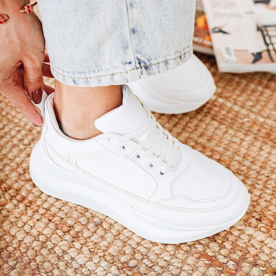 Limoya Vicki Beyaz Kalın Tabanlı Bağcıklı Casual Spor Ayakkabı