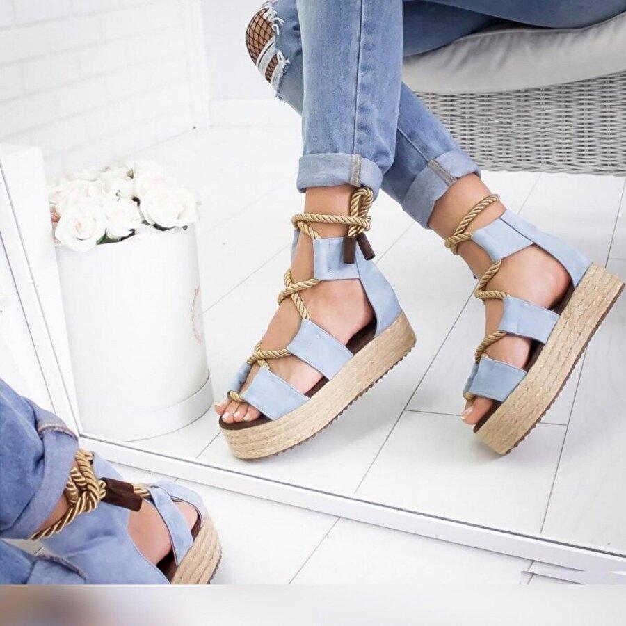 Limoya Keyla Bebek-Mavisi  Halat Detaylı Hasır Sargılı Dolgu Sandalet