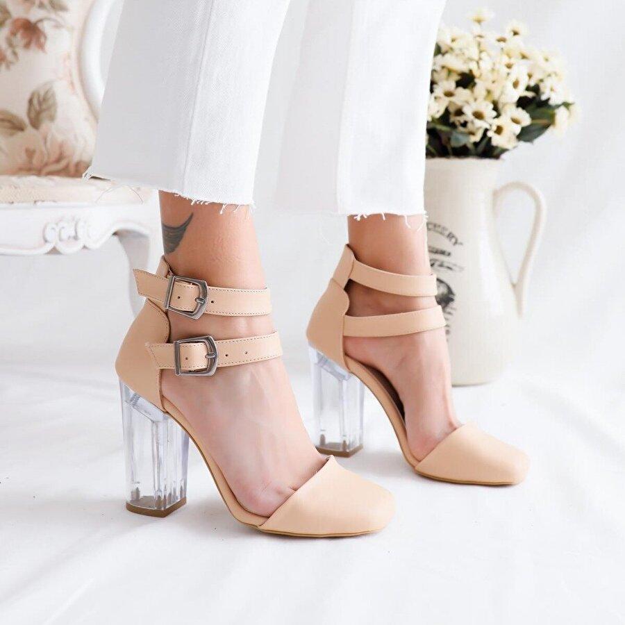 Limoya Sally Nude Çift Tokalı Şeffaf Topuklu Sandalet
