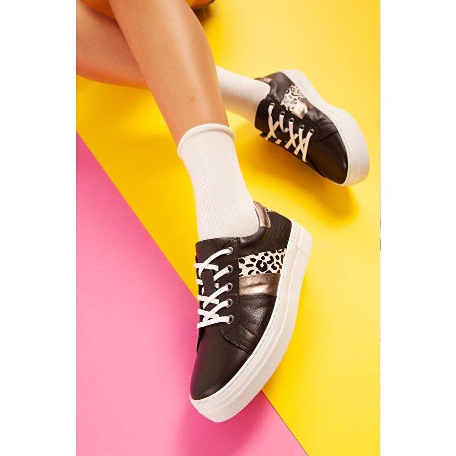 Jilberto Hakiki Deri Royalty Siyah Zebra Detaylı Sneakers