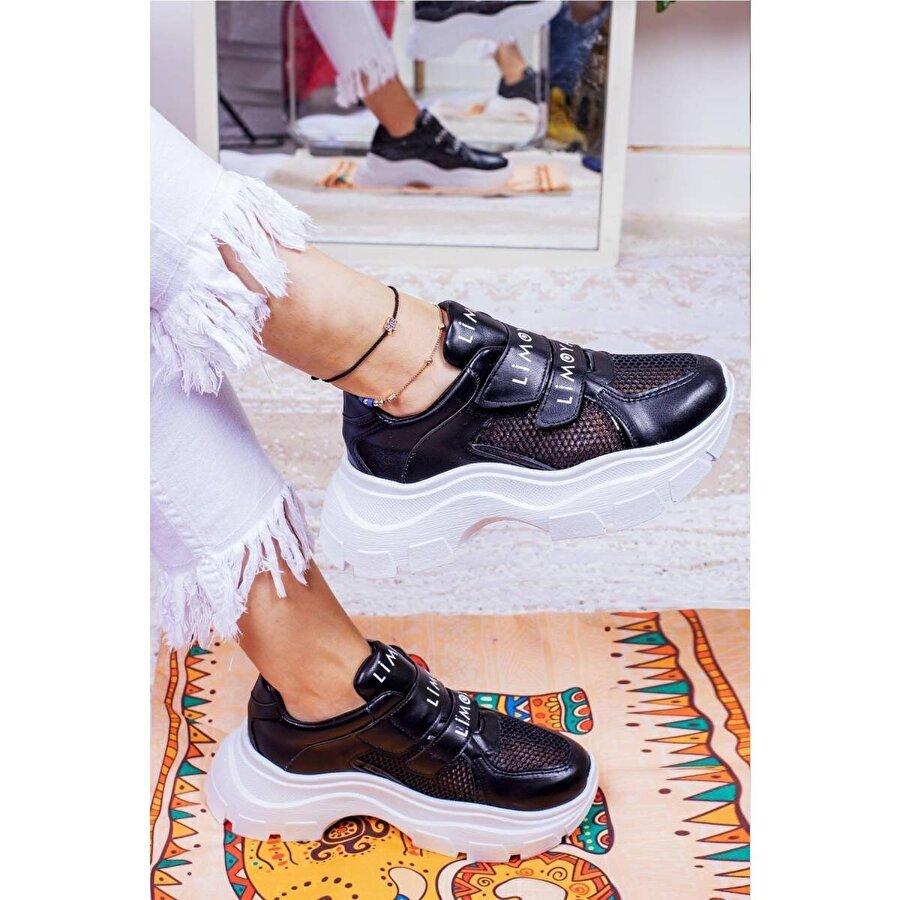Limoya Katie Siyah Cırt Cırtlı Fileli Yüksek Tabanlı Sneakers