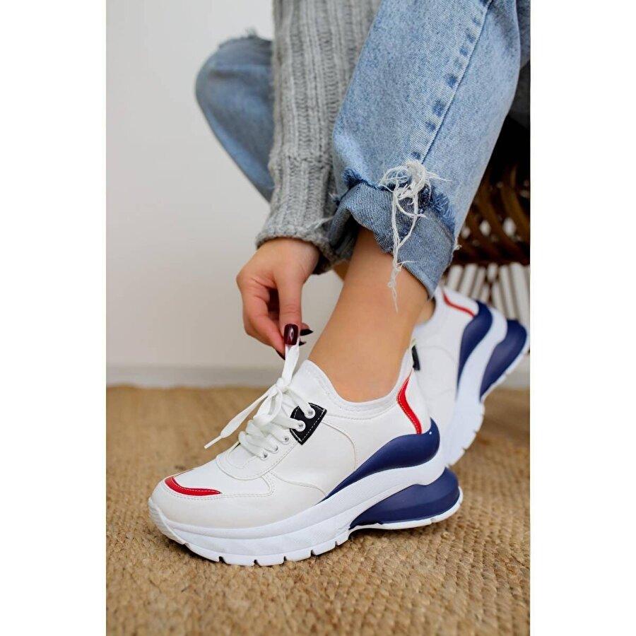 Jilberto Sharon Beyaz/Mavi Streç Sneakers