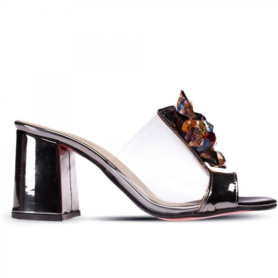 Deery Platin Transparan Taşlı Topuklu Kadın Ayakkabı
