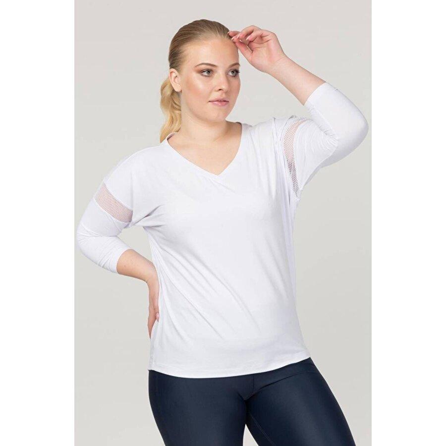 Bilcee Beyaz Büyük Beden Kadın Antrenman T-Shirt FS-1769