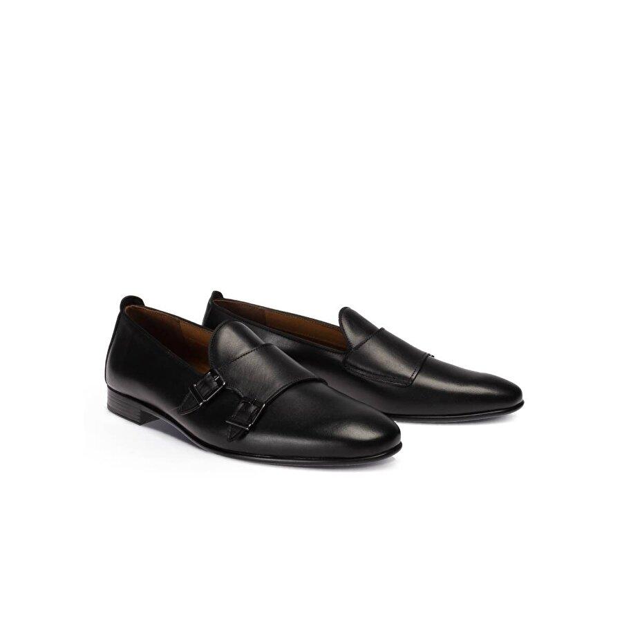 Deery Hakiki Deri Siyah Çift Tokalı Erkek Loafer