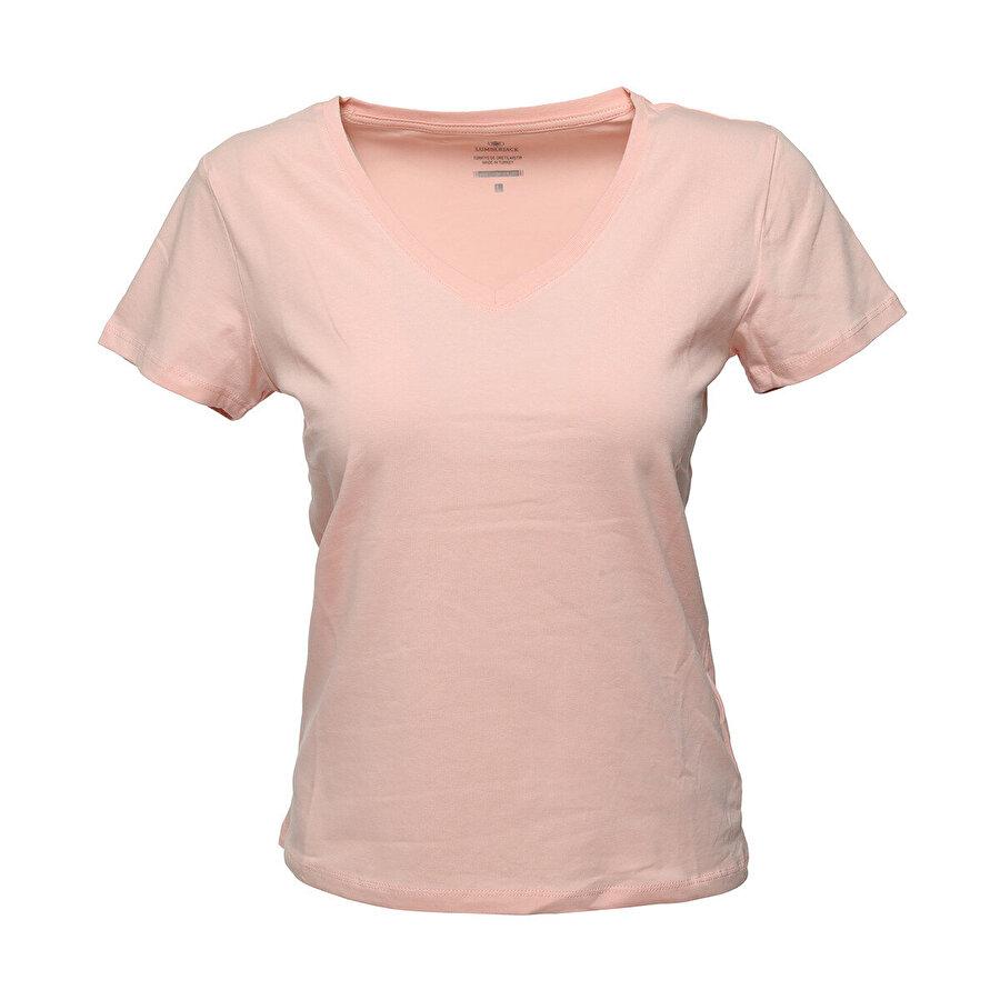 Lumberjack CT130 BASIC V NECK T-SHIR Pembe Kadın T-Shirt