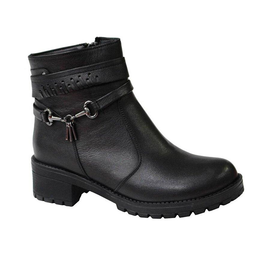 Mehmet Mete 0829 Siyah Hakiki Deri Bayan Ayakkabı Bot