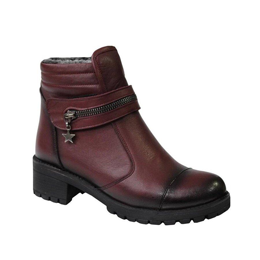 Mehmet Mete 0836 Bordo Hakiki Deri Bayan Ayakkabı Bot