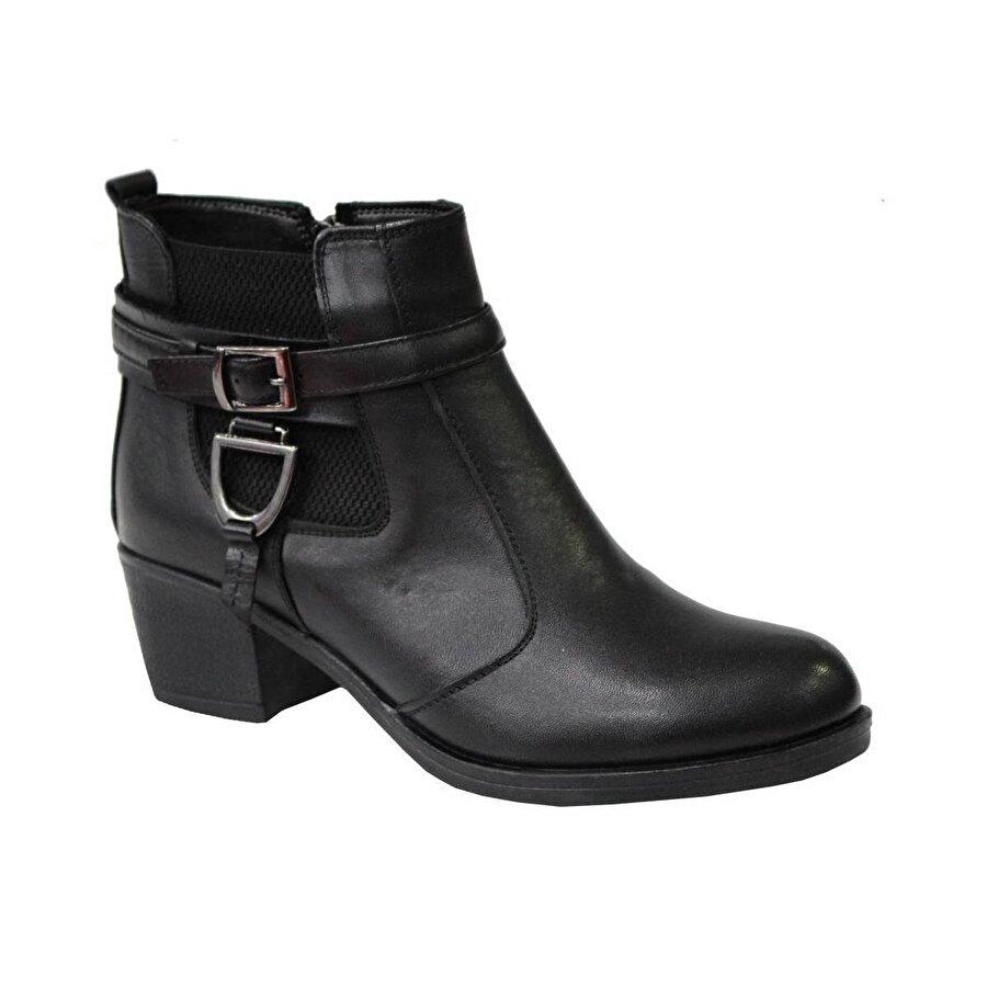 Mehmet Mete 0828 Siyah Hakiki Deri Bayan Ayakkabı Bot